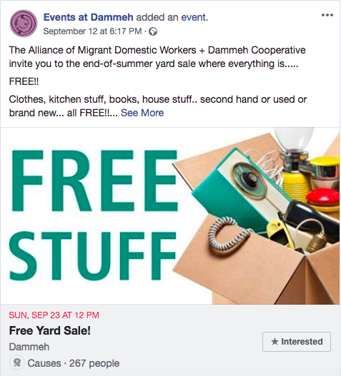 ecc382dd52d0 Dammeh Cooperative is hosting a free yard sale in collaboration with The  Alliance of Migrant Domestic Workers with secondhand clothes